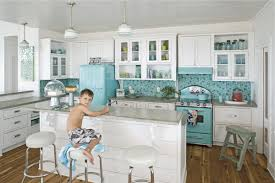 Blue Kitchens With White Cabinets Bright Pastel Blue Refrigerator And Electric Range Mosaic