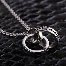 titanium steel pendeloque cut new pattern three ring stainless