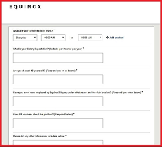 the questionnaire in the equinox careers application form for club positions jpg