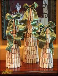 the bubbly hostess diy wine cork christmas trees topped with ribbon
