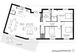 plan chambre plan de maison plain pied 100m2 3 chambres design photo décoration