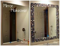 agreeable framing a bathroom mirror with glass tile with