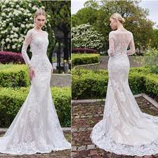 lace wedding dress with sleeves gorgeous scoop mermaid white lace wedding dress sleeve