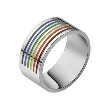 aliexpress buy 2017 wedding band for men 316l gorgeous tale outside rainbow lgbt ring for men 316l stainless
