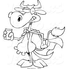 vector of a cartoon super cow holding a glass of milk outlined
