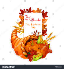 thanksgiving day cornucopia design celebration greeting stock