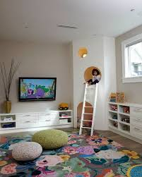 Kid Area Rug Playroom Large Floral Area Rug Knit Poufs Custom Play