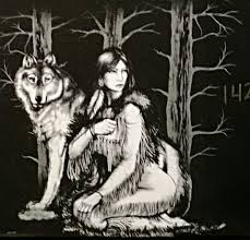 indian princess and wolf