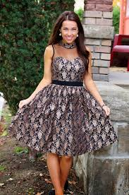 Fashion Trends Elegant Black Lace Women Holiday Dress Combined
