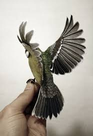 crafter makes birds out of wood and paper by hand cutting every