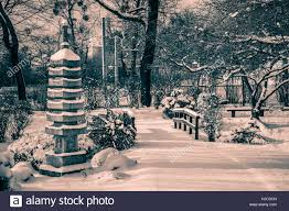 setagaya park vienna a japanese garden in winter stock photo