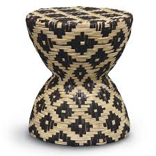 Palecek Bar Stools Palecek Woven Rattan Black U0026 White Hourglass Stool Table