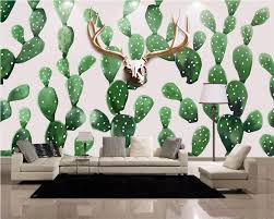 compare prices on wall painted murals online shopping buy low beibehang custom wallpaper living room bedroom murals hand painted nordic style deer head cactus tv background