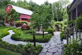 Flagstone Walkway Design Ideas by Design Ideas Flowering Plants And Wood Gate Also Flagstone