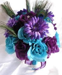 turquoise flowers purple and turquoise wedding flowers wedding corners