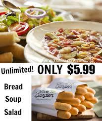 Olive Garden 5 99 For Unlimited Soup Salad - olive garden unlimited soup salad and breadsticks lunch combo only