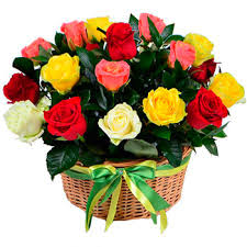 Multi Colored Roses Basket Multicolored Roses
