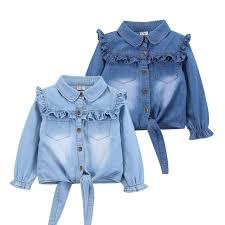 denim blouses casual baby denim shirts sleeve denim blouse