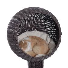 Hooded Dog Bed Wicker Pet Bed Hooded Cat Condo Cushion Scratch Aosom Ca