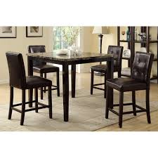 Dining Table And 4 Chairs Marble Finish Counter Height Dining Table 4 Chairs F2339 F1144