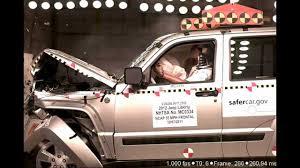 wrecked jeep liberty jeep liberty 2012 frontal crash test nhtsa crashnet1 youtube