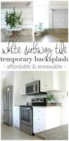 easy and cheap rental kitchen makeover a fresh coat of paint on make a white subway tile temporary backsplash with removable wallpaper follow this tutorial for a