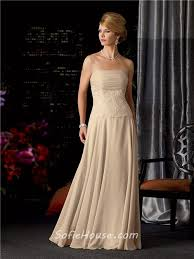 a line strapless long champagne chiffon lace mother of the bride