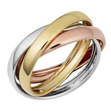 tricolor ring fremada 14k tri color gold high intertwined rolling ring