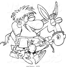 vector cartoon peddlar donkey coloring outline