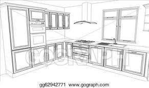 stock illustrations kitchen design in white fill stock clipart