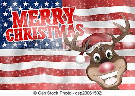 merry usa flag with happy reindeer merry stock