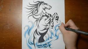 drawing a cool rearing horse tribal tattoo design style youtube