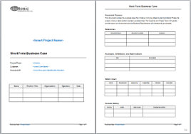 short form business case template business plan template free