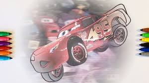 cars 3 lightning mcqueen jumping coloring pages for children