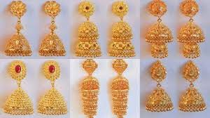 gold jhumka earrings design with price party wear gold earrings designs 2018 with weight and price