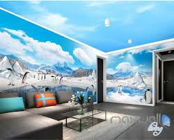 Wall Murals 3d 3d Anctica Penguins Iceberg Entire Room Wallpaper Wall Murals Art