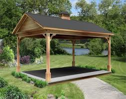 red cedar gable roof open rectangle gazebos with metal roof