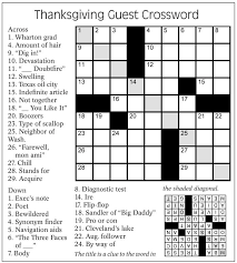 thanksgiving guest crossword puzzle