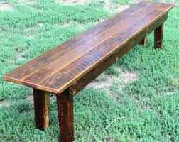 Rustic Dining Tables With Benches Kitchen U0026 Dining Tables Etsy