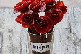 spoil your valentine with a bouquet of beef jerky flowers mental