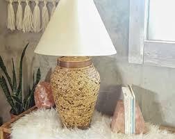 Wicker Table Lamp Rattan Lamp Etsy