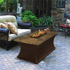 Patio Furniture With Gas Fire Pit by Outdoor Gas Fire Pit Coffee Rectangle Fire Pit Table