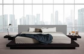 Modern Platform Bed King Modrest Opal Modern Low Profile Black Oak And Grey Leatherette