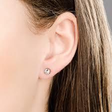 pierced earrings swarovski canvas gold plated white pierced earring