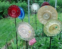 gold yellow clear and blue glass garden ornaments