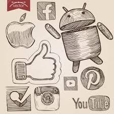 vintage set of social media icons u2014 stock vector sentavio 83132714