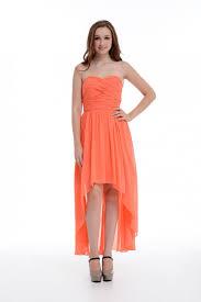 coral high low sweetheart peach chiffon bridesmaid dress