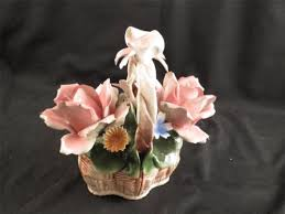 capodimonte basket of roses vintage nuova capodimonte porcelain flower basket bow on handle