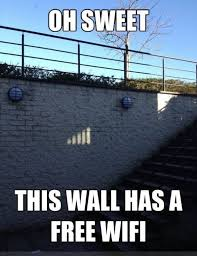 Free Funny Memes - this wall has free wifi funny memes