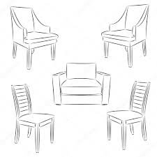 chair icon classic chair outline contour drawing vector illust